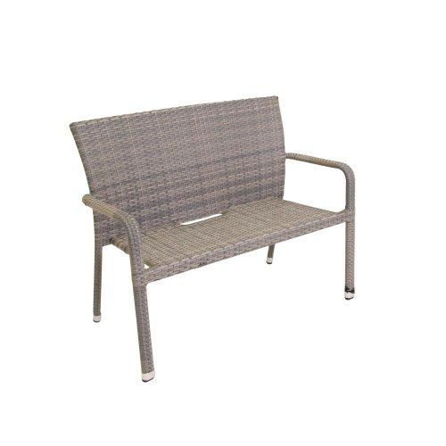 2 Stück greemotion 2-er Rattan-Bank Manila, Gartenbank, Gartensofa, 115 x 62 x 88 cm, aus Stahl/Polyethylengeflecht, in grau