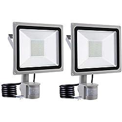 FreedomT Lot de 2 Projecteur LED avec Détecteur de Mouvement 100W Extérieur, 10000LM Blanc Froid 6000K, Imperméable IP65, LED Lampe de Sécurité pour Jardins Couloirs Rues [Classe énergétique A++]