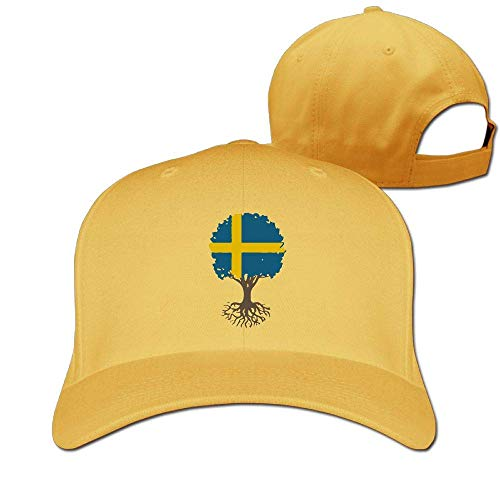 Pimkly Unisex Hüte,Baseballmützen, Tree Life Swedish Flag Cotton Pure Color Baseball Cap Classic Adjustable Visor Hat - Kleinkind Boston Baseball-cap