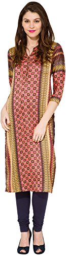 Folklore Women's Straight Kurta (FOKU001777_Red_M)  available at amazon for Rs.419