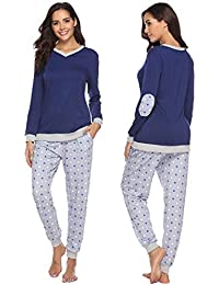 Abollria Pijama Mujer Algodón 2 Piezas Set V-Cuello Conjunto de Pijamas de Manga Larga