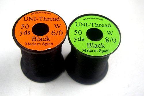1 x UNI - Fil de montage - NOIR - 50 yards (45,72m) - Taille au choix