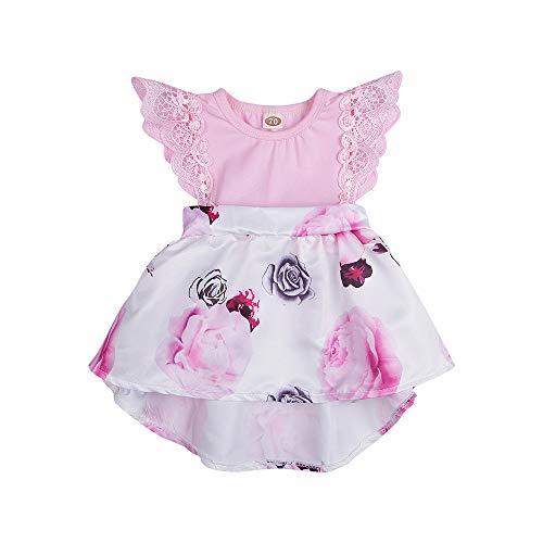 IZHH Baby Mädchen Blumendruck Kleider, Kleinkind Baby Baby Fliegende Ärmel Kleid Spitze Prinzessin Kleider Outfits Karneval Ostern Princess Dress(Rosa,80) Pink Princess Outfit