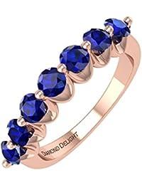18K Gold Blau Saphir HOCHZEIT/Jahrestag Band Ring (3/4Karat)