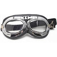 Vintage Lunettes de protection Pilot Chrome Moto Sport Half Helmet Goggles - Clair