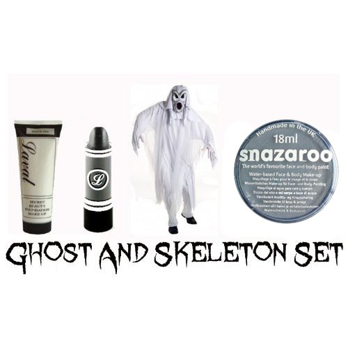 Halloween Ghost And Skeleton Make Up Set - White Foundation, Black Lipstick and Halloween Snazaroo Face Paint by Ghost and Skeleton