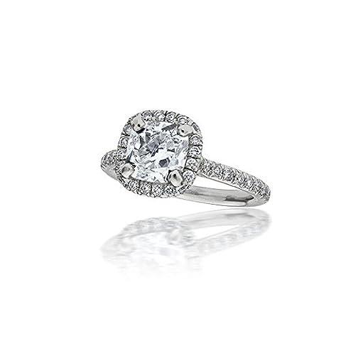 Forever Diamond - 14K White Gold 14 Karat Weißgold Halbmondschliff Hochfeines Weiß +/River (D) Diamant