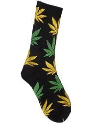 HUF Plantlife Chaussettes - Noir avec Jaune et Vert (Jamaïque)