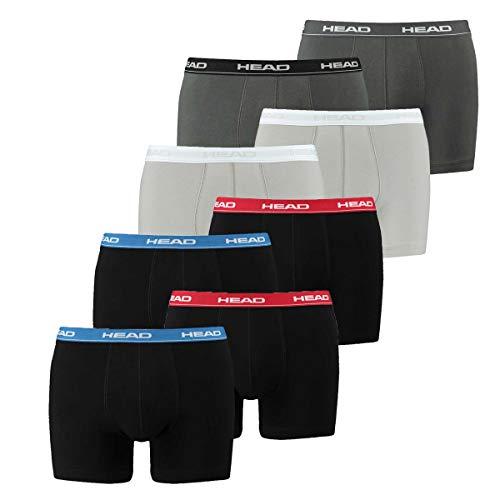 HEAD Herren Boxershorts 841001001 8er Pack, Wäschegröße:M;Artikel:2x red/blue/black 1x grey 1x grey/black