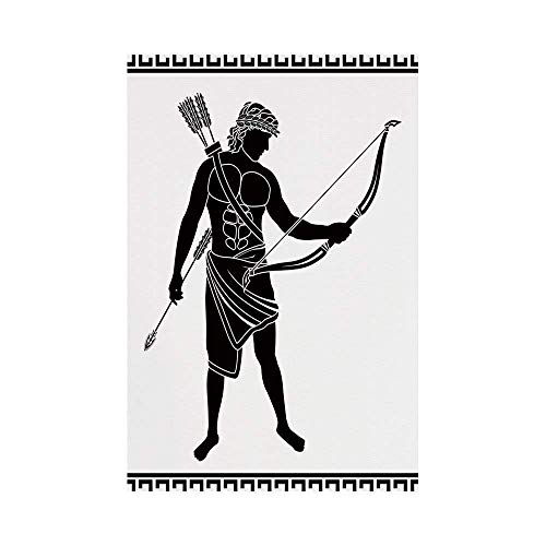 y Manual Custom Garden Flag Demonstration Flag Game Flag,Toga Party,Hellenic Bowman Silhouette Eros Fantasy Gladiator Old Mediterranean Print Decorative,Black and Whiteoo décor ()