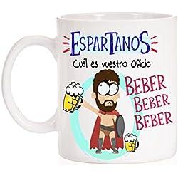 Taza Espartanos cual es vuestro oficio, Beber beber beber. Taza divertida de regalo de cine