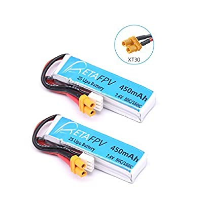 BETAFPV 2pcs 450mAh 2S 80C Lipo Battery with XT30 Plug for Doinker Moskito Mico FPV Racing Drone Quadcopter