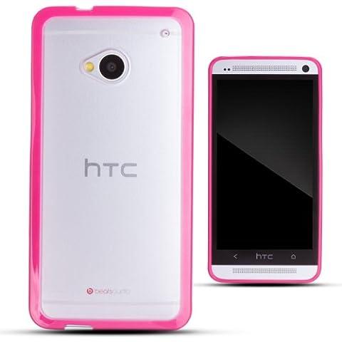 Zooky® rojo y transparente plástico funda / carcasa / cover para HTC ONE M7