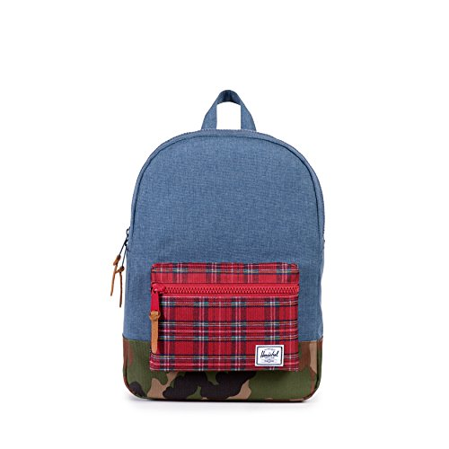herschel-settlement-youth-navy-cross-hatch-red-plaid-woodland-camouflage-sac-a-dos