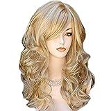 CPHGG Perücken Damen Mode Perücke Persönlichkeit Gold Natürliche Flauschige Braune Lange Lockige Haare Wellig Weiche Perücke Hochtemperatur Seide Chemiefaser Perücke