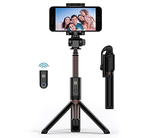 ACZZ Trépied Selfie Stick avec télécommande Bluetooth pour Iphone X 8 Plus 7 6 6S Plus Android Samsung S9 S8 S7 Plus Edge 4 en 1 mini-poche extensible en alliage d'aluminium monopode 360 degrés de