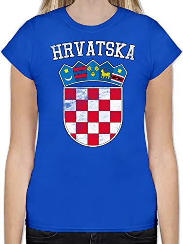 Fußball-Europameisterschaft 2020 - Kroatien Wappen WM - L - Royalblau - L191 - Tailliertes Tshirt für Damen und Frauen T-Shirt