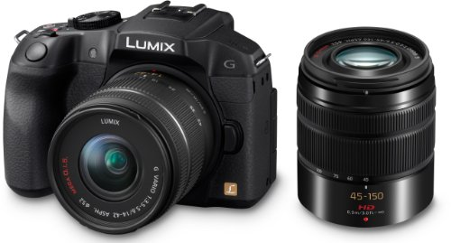 Panasonic Lumix DMC-G6WEG-K Systemkamera (16 Megapixel, 7,6 cm (3 Zoll) Touchscreen, WiFi, NFC) mit Objektiv Lumix G 14-42mm/F3,5-5,6 OIS und 45-150mm/F4,0-5,6 OIS schwarz