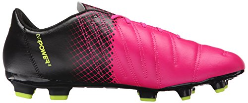 Puma EvoPOWER 4.3 Tricks FG Cuir Baskets Pink Glo-Safety-Yellow-Black