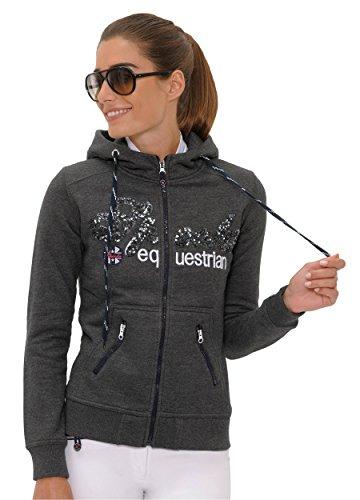 SPOOKS Damen Sweatjacke, Kapuzen-Jacke Mädchen Kinder Frauen, Zipper Hoodie - Sommerjacke bequem & anschmiegsam, Roxie Sequin Jacket - Dunkelgrau XL