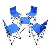 WUCONG Im Freien Großer Tragbarer Klapptisch und Stühle Freizeit Selbstfahrender Stuhl Fünfteilig