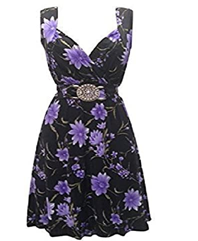 HOLIDAY SUITCASE LTD-NEW LADIES WOMANS SEXY BEST PARTY EVENING HOLIDAY SUMMER PROM WEDDING DRESS SIZE 8 TO 26 UK (16/18 UK, PURPLE/BLACK)