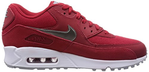 Nike Herren Air Max 90 Essential Low-Top Rot (602 GYM RD/MTLC PWTR-WHITE-WLF GRY)