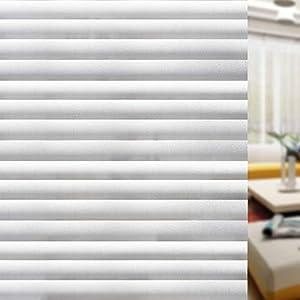 rabbitgoo blickdichte Fensterfolie Sichtschutzfolie Fenster Milchglasfolie Selbstklebend Folie Klebefolie für Bad Duschwand Streifen Jalousette 44.5 x 200 cm