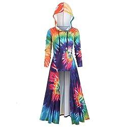 VEMOW Karneval Halloween Cosplay Party Ballkleid Damen Mode Langarm Mit Kapuze Mittelalterliches Kleid Bodenlangen Cosplay Kleid(Gelb,46 DE / 3XL CN)