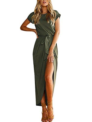 YOINS Damen Sommerkleid Kurzarm Rundhals Kleider Maxikleid Abendkleid Strandkleid Einfarbig
