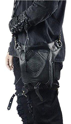 Shu li Herren und Damen Steampunk Vielseitig Schulterschlung-Spleißtaschen Einheitsgröße Schwarz