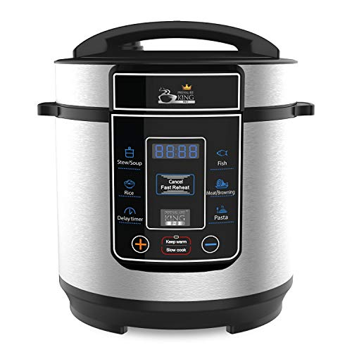 Drew & Cole Pressure King Pro Electric Pressure Cooker 8-in-1 Multi Cooker, Rice Cooker, Slow Cooker, Soup Maker, 3 Litre, 700 W, Chrome