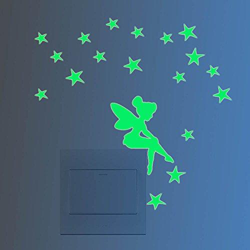Décoration lumineuse mignon interrupteur sticker mural autocollant nuit fluorescentes fée étoile