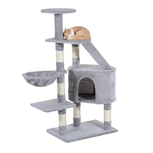 PawHut Cat Tree Kitten Scratching Post Scratch Scratcher Climb Activity Center Play House Pet Furniture 125cm (Grey)