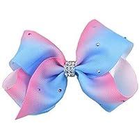 Pasabideak 1 unids Arco Iris Color Progresivo Big Bowknot Horquilla Pinzas de Pelo bebé niña Headwear