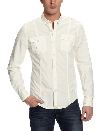 CLAVIN KLEIN JEANS CHEMISE HOMME COMPACT COTTON CREME - Taille - S - - Homme