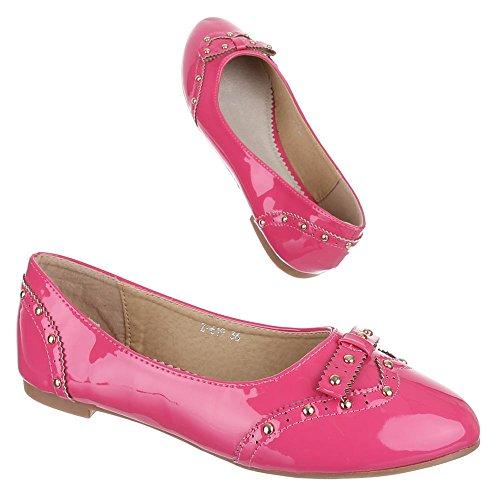 Kinder Schuhe, Z-619, BALLERINAS HALBSCHUHE MIT NIETEN Pink