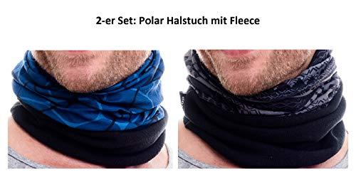 Hilltop 2-er Set Polar Multifunktionstuch mit Fleece, Motorrad Halstuch/Schlauchschal / Ski Gesichtsmaske, 2-er Polar Set:blue & grey duo