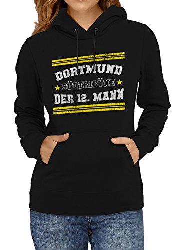 Shirt Happenz Dortmund #1 Premium Hoodie | Fussball | Fan-Trikot | #Jeden-Verdammten-Samstag | Frauen | Kapuzenpullover, Farbe:Schwarz;Größe:M