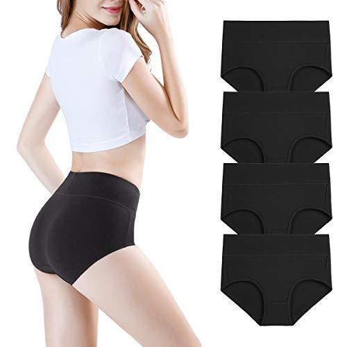 wirarpa Damen Unterhosen 4er Pack Panties Slips Damen Unterwäsche mit Hoher Taille Ultra Weich Wochenbett Taillenslip Schwarz Größe M