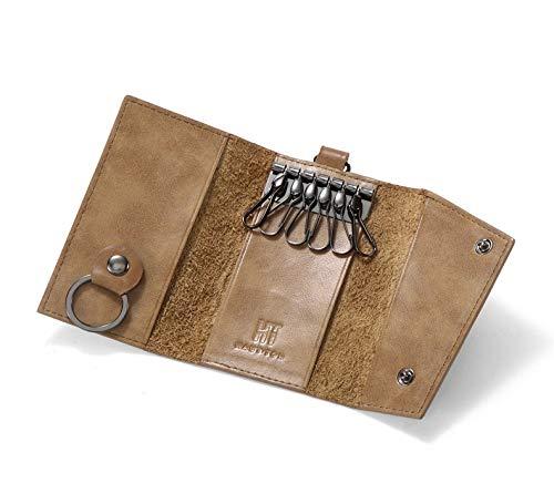Hautton Premium Schlüsselmäppchen aus ECHTEM Leder - Premium Qualität - Schlüsselanhänger Schlüsseltasche Geldbörse Schlüsseletui