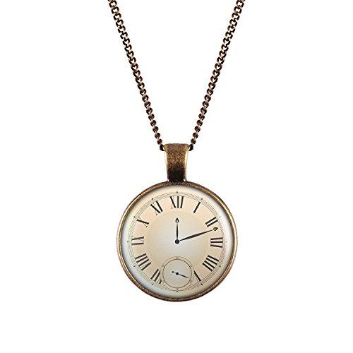Mylery-Halskette-mit-Motiv-Taschen-Uhr-Ziffernblatt-Fake-Unecht-silber-oder-bronze-28mm