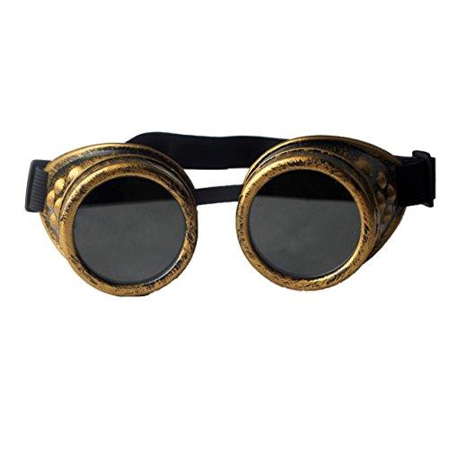 AFUT Steampunk Schutzbrille Viktorianisch Schweißen Gelbes Rahmen Schwarze Linse