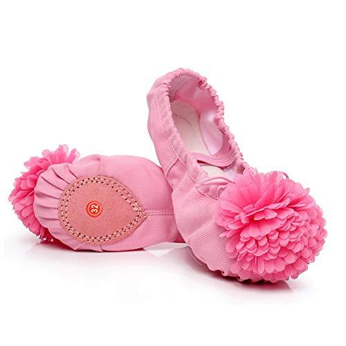 Bobopai Ballet Slippers for Girls Classic Split-Sole Canvas Dance Gymnastics Yoga Shoes (pink) (Kordelzug Pant Dance)