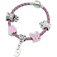 Children's Pink Leather Happy 9th Birthday Charm Bracelet With Lovely Jewellery Hut Gift Pouch - Girl's & Children's Birthday Gift Jewellery