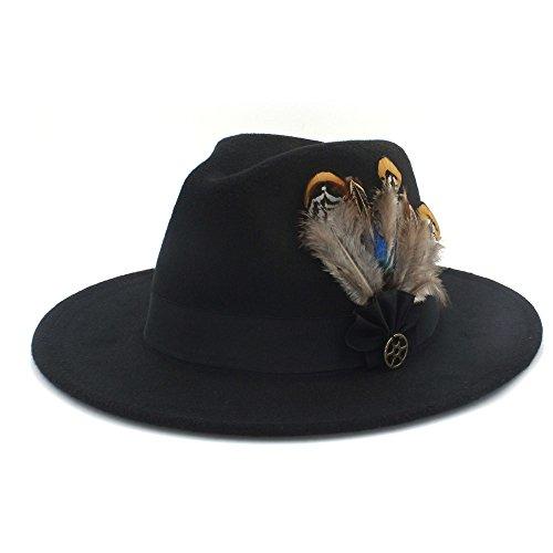 HUILIAN HATS Chapeau à la Mode, Chapeau Fedora Trilby Fedora en Laine à Larges Bords pour Womem Homme Chapeau Eglise Gangster en Cachemire Auturmn ave