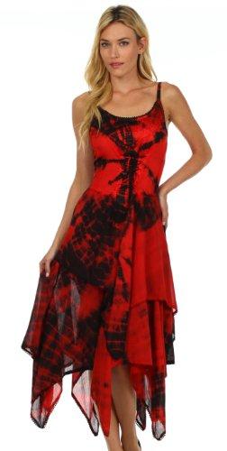 Sakkas Annabella vestito orlo corsetto corpetto fazzoletto per le donna Nero / Rosso