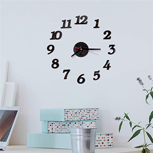 Yooshen 3D Aufkleber Frameless große Wand Taktgeber 3D Digital Acryl kreativ Art Uhren Home Office Decor Geschenk Schlafzimmer Uhr Geschenk Home Dekoartikel Quarzuhr (Schwarz)
