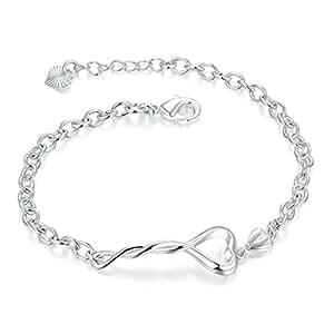 AMDXD Jewerly Placcato argento Donna Bracelet Disegno del cuore Bracciale Bracciali 8In