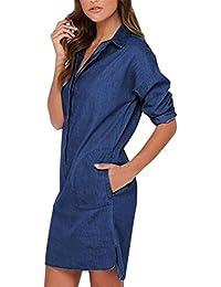 Amazon.es  Vestido Vaquero Mujer - Recto   Vestidos   Mujer  Ropa 9b054c8164e